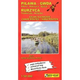 PIŁAWA - GWDA, RURZYCA wodoodporna mapa kajakowa 1:50 000 EKO-GRAF 2020/2021
