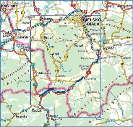 BESKID ŚLĄSKI mapa laminowana 1:50 000 COMPASS 2020 (3)