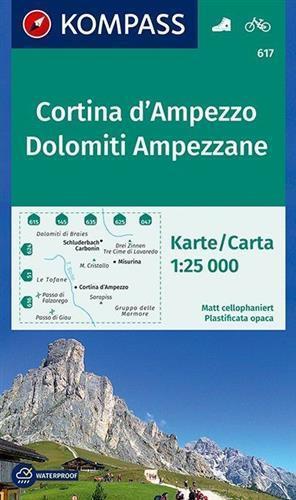 CORTINA D AMPEZZO 617 mapa turystyczna 1:25 000 KOMPASS (1)