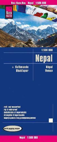 NEPAL + KATMANDU BHAKTAPUR mapa 1:500 000 REISE KNOW HOW 2020