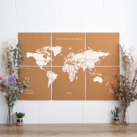 MAPA KORKOWA ŚWIAT - WOODY PUZZLE WORLD MAP WHITE XL 60 x 90 cm