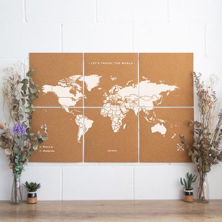 MAPA KORKOWA ŚWIAT - WOODY PUZZLE WORLD MAP WHITE XL 60 x 90 cm (1)