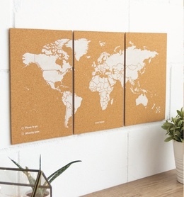 MAPA KORKOWA ŚWIAT - WOODY PUZZLE WORLD MAP WHITE M 60 x 30 cm