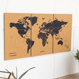 MAPA KORKOWA ŚWIAT - WOODY PUZZLE WORLD MAP BLACK M 60 x 30 cm