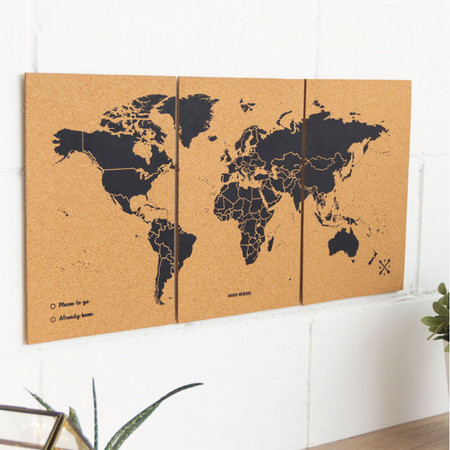 MAPA KORKOWA ŚWIAT - WOODY PUZZLE WORLD MAP BLACK M 60 x 30 cm (1)