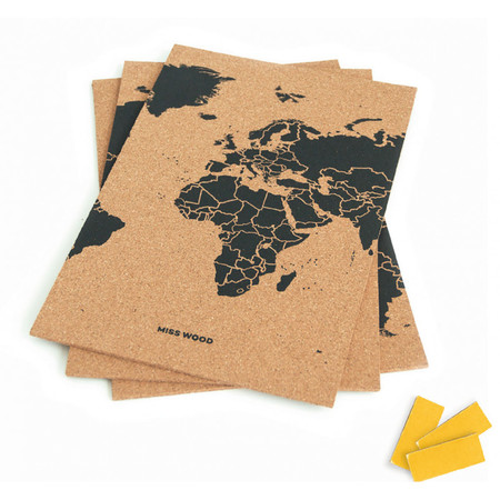 MAPA KORKOWA ŚWIAT - WOODY PUZZLE WORLD MAP BLACK M 60 x 30 cm (2)