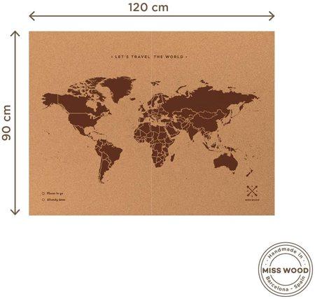 MAPA KORKOWA ŚWIAT Miss Wood Woody Map XXL 120 x 90 cm (1)