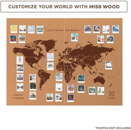 MAPA KORKOWA ŚWIAT Miss Wood Woody Map XXL 120 x 90 cm (3)