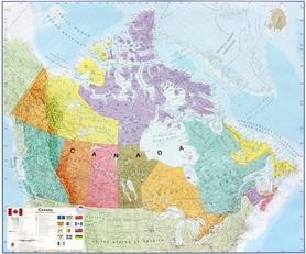 KANADA laminowana mapa ścienna z zawieszką MAPS INTERNATIONAL
