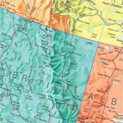 KANADA laminowana mapa ścienna z zawieszką MAPS INTERNATIONAL (2)