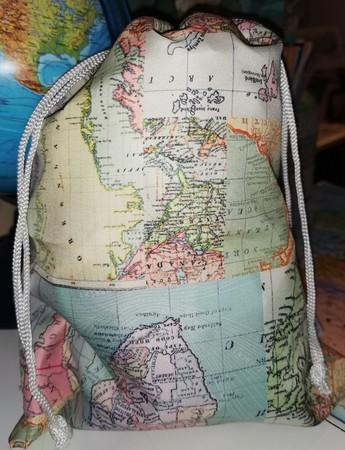 WOREK TORBA mały VINTAGE MAP TRAVEL Sass&Belle (2)