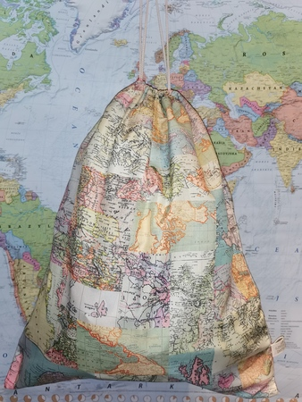 WOREK TORBA duży VINTAGE MAP TRAVEL Sass&Belle (2)