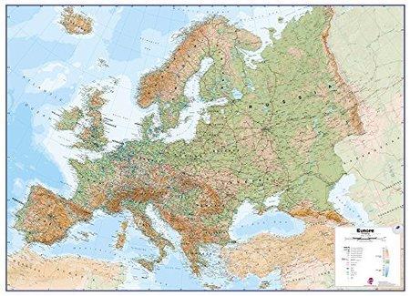 EUROPA ścienna mapa fizyczna laminowana  1:4 300 000 MAPS INTERNATIONAL 2020 (1)