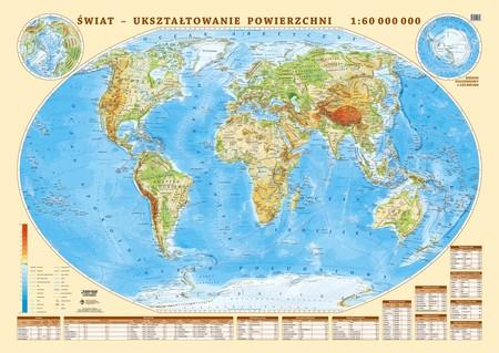 ŚWIAT UKSZTAŁTOWANIE POWIERZCHNI mapa ścienna 1:18 000 000 EKOGRAF 2020 (1)