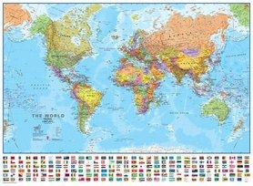ŚWIAT polityczna mapa ścienna laminowana 136 x 100 cm 1:30 000 000 Maps International
