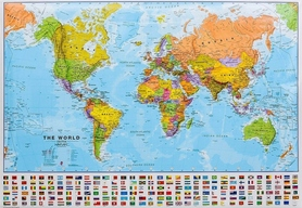 ŚWIAT laminowana mapa ścienna 103 x 74 cm 1:40 000 000 Maps International