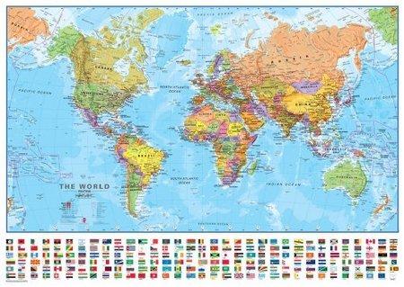 ŚWIAT laminowana mapa ścienna 69 x 53 cm 1:60 000 000 Maps International (1)