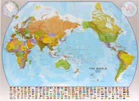 ŚWIAT 1:30 000 000 PACYFIKOCENTRYCZNA mapa ścienna MAPS INTERNATIONAL