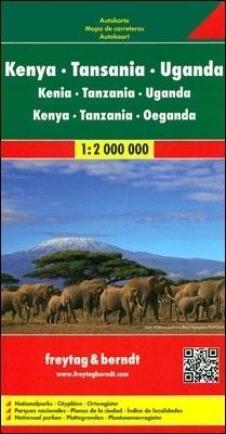 KENIA TANZANIA UGANDA mapa 1:2 000 000 FREYTAG & BERNDT