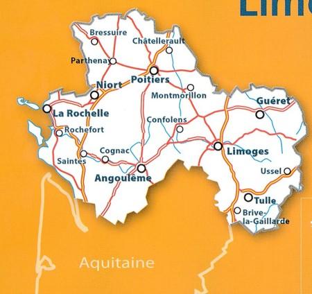 POITOU-CHARENTE - LIMOUSIN mapa 1:200 000 MICHELIN 2021 (3)