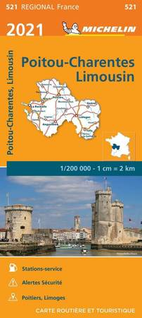 POITOU-CHARENTE - LIMOUSIN mapa 1:200 000 MICHELIN 2021 (1)
