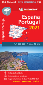 HISZPANIA PORTUGALIA mapa wodoodporna 1:1 000 000 MICHELIN 2021