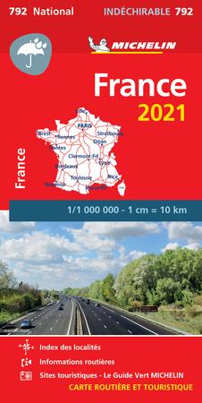 FRANCJA mapa wodoodporna 1:1 000 000 MICHELIN 2021 (1)