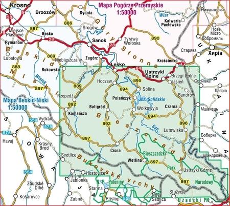 BIESZCZADY mapa turystyczna wodoodporna 1:50 000 COMPASS 2021 (3)