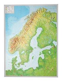 SKANDYNAWIA mapa plastyczna 1:2 900 000 GEORELIEF