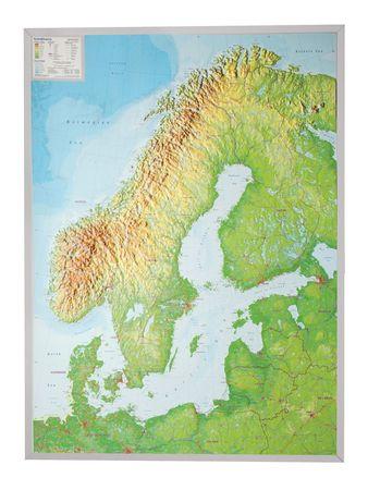 SKANDYNAWIA mapa plastyczna 1:2 900 000 GEORELIEF (2)