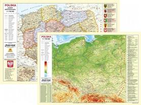 POLSKA mapa fizyczno-administracyjna laminowana podkładka EKOGRAF 2021