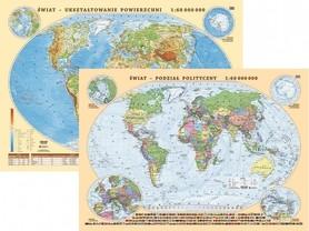 ŚWIAT mapa fizyczno-polityczna laminowana podkładka EKOGRAF 2021