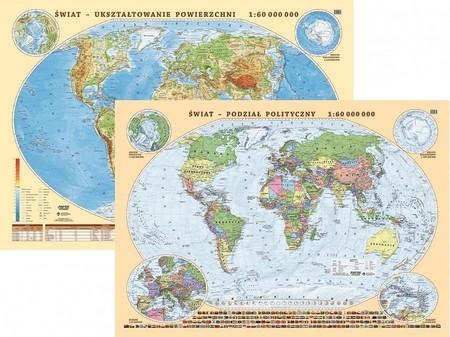 ŚWIAT mapa fizyczno-polityczna laminowana podkładka EKOGRAF 2021 (1)
