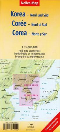 KOREA PÓŁNOCNA I POŁUDNIOWA mapa wodoodporna 1:1 500 000 NELLES MAP (2)