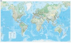 ŚWIAT FIZYCZNY mapa ścienna 140 x 82 cm KUMMERLY FREY 2020