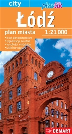 ŁÓDŹ plan miasta laminowany 1:21 000 DEMART 2021