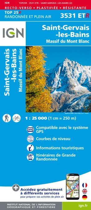 St-Gervais-Les-Bains / Massif du Mont Blanc 3531ETR mapa wodoodporna 1:25 000 IGN (1)