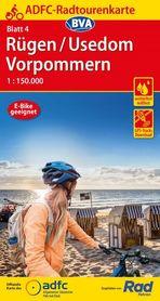RUGIA UZNAM POMORZE PRZEDNIE mapa turystyczno - rowerowa ADFC 2021