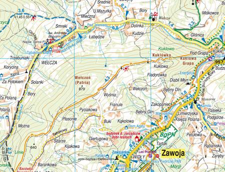 BABIA GÓRA ZAWOJA BABIOGÓRSKI PARK NARODOWY mapa syntetyczna 1:30 000 STUDIO PLAN 2021/2022 (2)