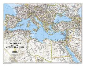 KRAJE ŚRÓDZIEMNOMORSKIE MORZE ŚRÓDZIEMNE mapa ścienna NATIONAL GEOGRAPHIC