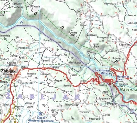 CZARNOGÓRA mapa 1:160 000 MICHELIN 2021 (2)