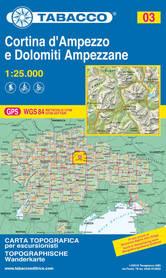 CORTINA D'AMPEZZO DOLOMITY AMPEZZANE 03 mapa turystyczna 1:25 000 TABACCO 2021