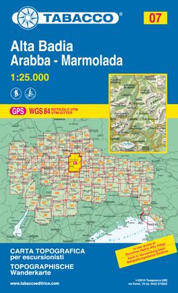 07 ALTA BADIA - ARABBA - MARMOLADA mapa turystyczna 1:25 000 TABACCO 2021