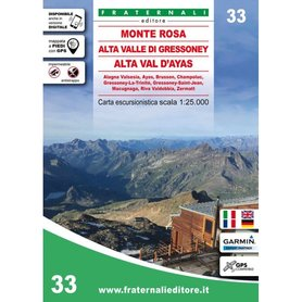 MONTE ROSA mapa turystyczna 1:25 000 Fraternali Editore 2020