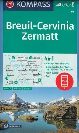 BREUIL CERVINIA ZERMATT wodoodporna mapa turystyczna 1:50 000 KOMPASS (1)