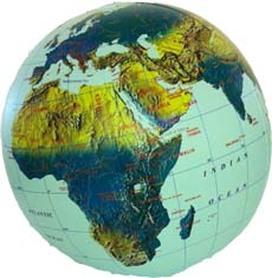 PIŁKA Świat mapa fizyczna 40 cm ITMB
