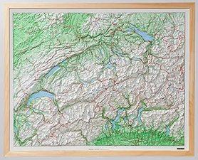 SZWAJCARIA mapa plastyczna  w rami 82 x 68 cm KUMMERLY+FREY 2021