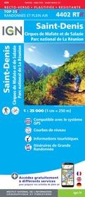 ST-DENIS / CIRQUES DE MAFATE ET DE SALAZIE - REUNION mapa wodoodporna IGN 2020