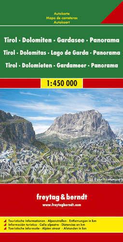 TYROL DOLOMITY JEZIORO GARDA mapa panoramiczna 1:450 000 - PANORAMA Freytag & Berndt