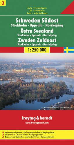 CZ. 3 SZWECJA POŁUDNIOWO WSCHODNIA Sztokholm Uppsala Norrkoping mapa samochodowa 1:250 000 FREYTAG & BERNDT